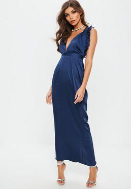 Granatowa satynowa długa sukienka maxi z falbanami