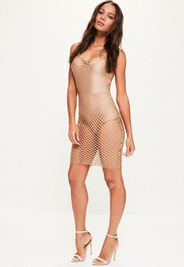 Camel Fishnet Strappy Mini Dress