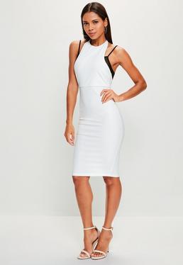 White Crepe Mesh Detail Midi Dress