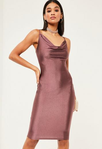 Purple Slinky Strappy Cowl Neck Dress Missguided