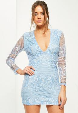 Blue Lace Long Sleeve Plunge Bodycon Dress