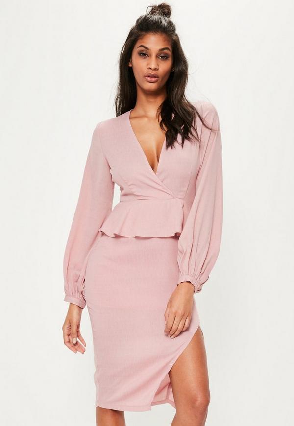 Pink Cheesecloth Balloon Sleeve Midi Dress