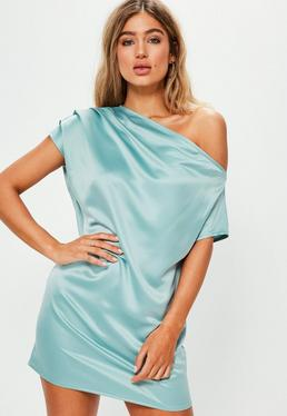 Blue Silky Off The Shoulder Shift Dress