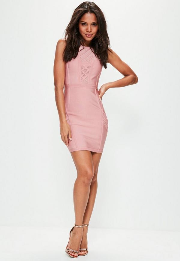 Pink Mesh Insert Bandage Bodycon Dress