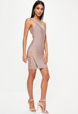 Purple Bandage One Shoulder Bodycon Dress