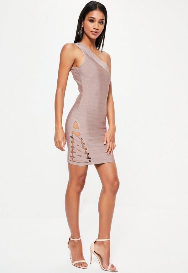Purple Bandage One Shoulder Bodycon Dress