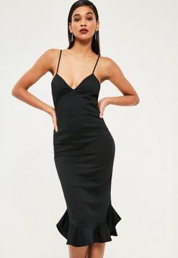 Black Strappy Frill Hem Midi Dress
