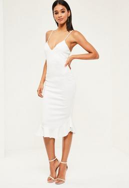 White Strappy Curve Frill Hem Midi Dress