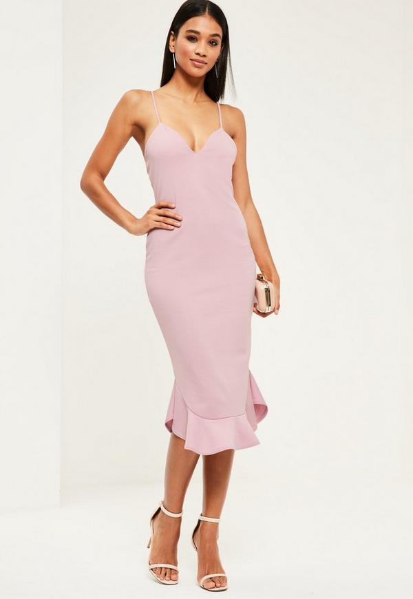 Purple Strappy Curve Hem Midi Dress