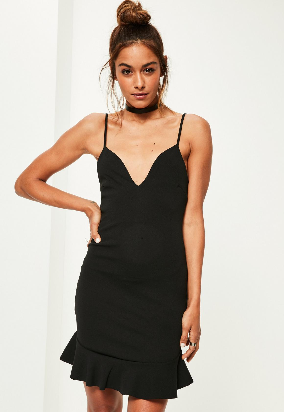 Black Strappy Frill Hem Bodycon Dress | Missguided