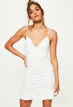 White Strappy Frill Hem Bodycon Dress