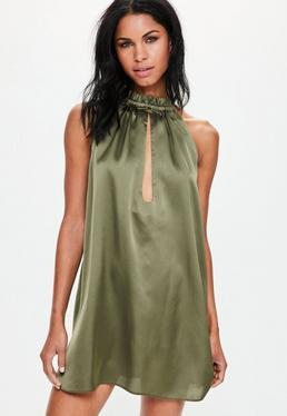 Khaki Silky Ruched Neck Swing Dress
