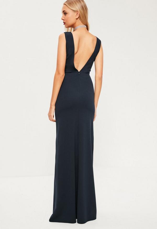 robe longue bleu marine d collet e missguided. Black Bedroom Furniture Sets. Home Design Ideas