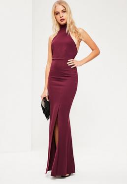 Burgundy Choker Neck Maxi Dress
