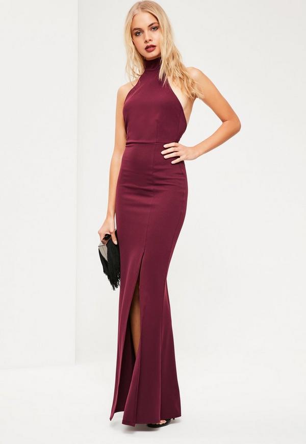 Burgundy Choker Neck Maxi Dress