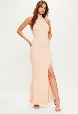 Robe longue rose col montant