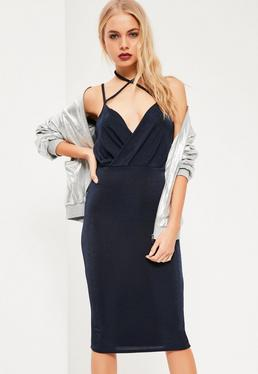 Navy Wrap Strappy Halterneck Midi Dress