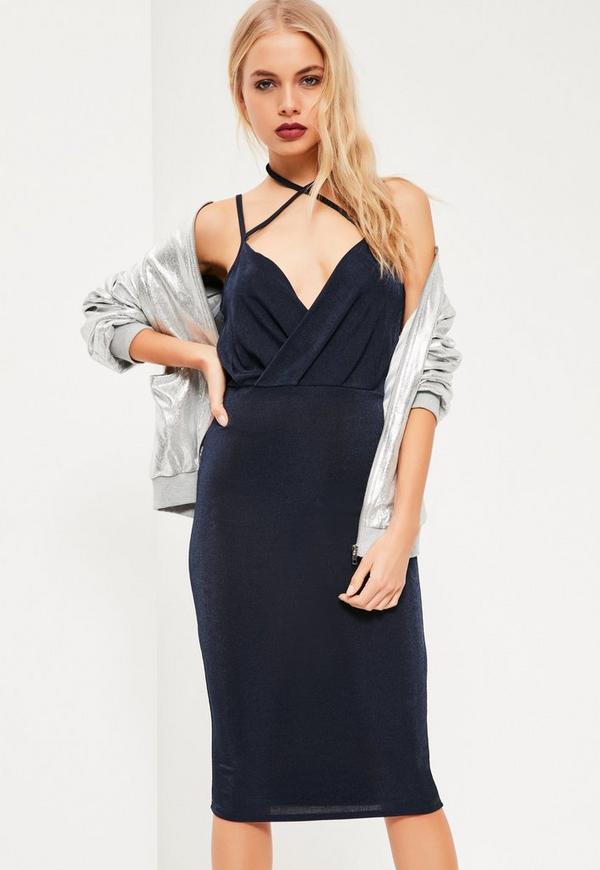 Navy Wrap Strappy Halterneck Midi Dress