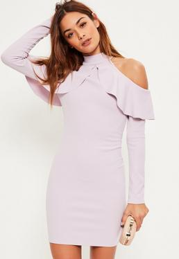 Purple Frill Cold Shoulder Long Sleeve Dress