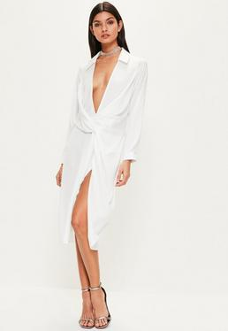 White Slinky Wrap Over Midi Dress