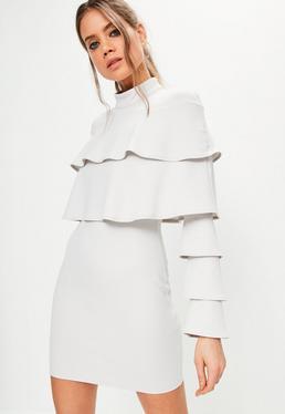 Grey Crepe Layered Frill Bodycon Dress