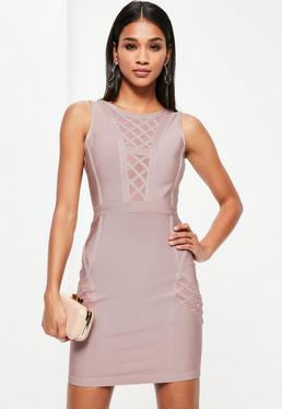 Fioletowa bandażowa dopasowana sukienka bez rękawów