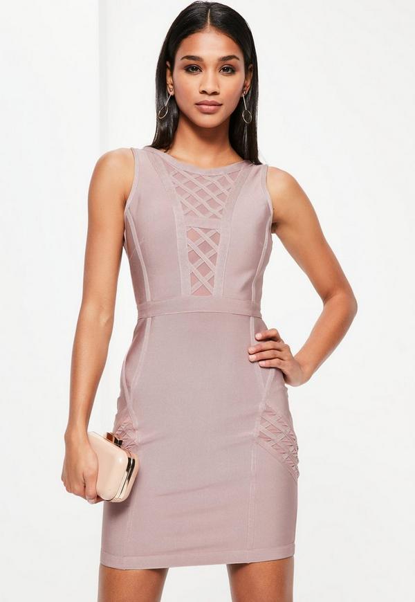 Purple Bandage Sleeveless Mesh Insert Bodycon Dress