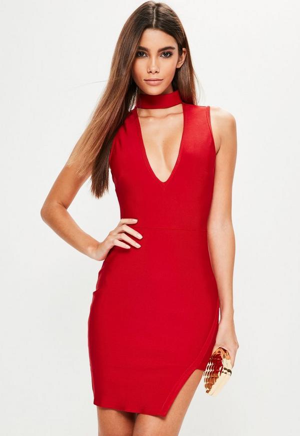 Red Bandage Choker Asymmetric Hem Bodycon Dress