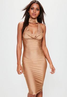 Gold Slinky Cowl Neck Midi Dress