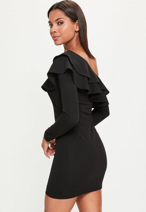 Black Frill Off The Shoulder Bodycon Dress