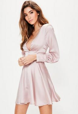 Pink Balloon Sleeve Plunge Button Detail Dress