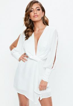 White Slit Sleeve Knot Front Wrap Dress