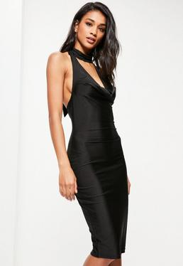 Black Slinky Cowl Neck Midi Dress
