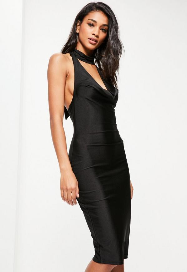 Black Slinky Cowl Neck Midi Dress
