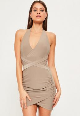 Nude Halterneck Wrap Waist Mini Dress