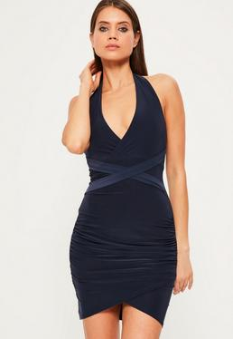 Navy Wrap Waist Slinky Halterneck Dress