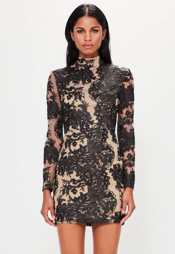 Peace + Love Black High Neck Mesh Lace Bodycon Dress