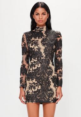 Peace + Love Vestido ajustado con encaje y transparencias cuello alto en negro