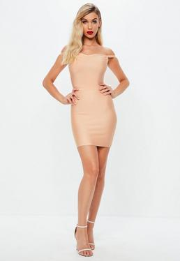 Pink Sweetheart Bardot Bandage Bodycon Dress