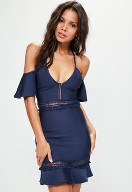 Blue Bardot Bandage Frill Bodycon Dress