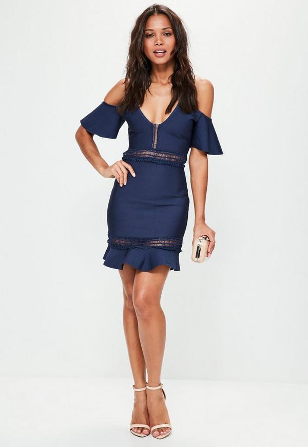 Frill bardot bodycon dress blue