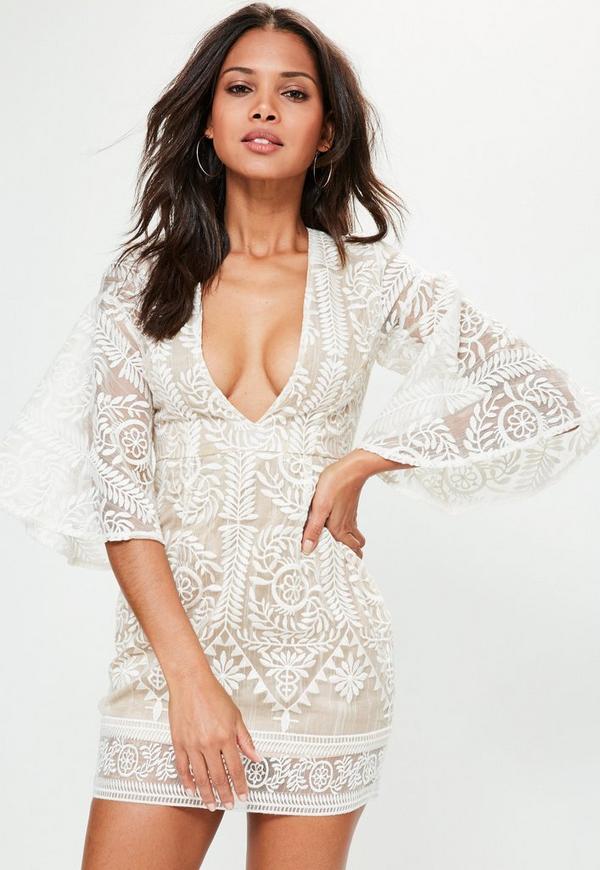Nude Kimono Flared Sleeve Lace Bodycon Dress