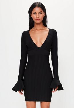 Peace + Love Black Flare Sleeve Textured Bandage Bodycon Dress