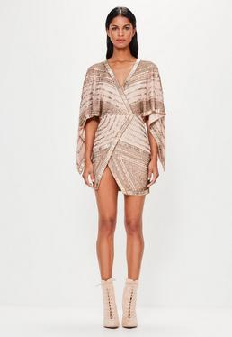 Peace + Love Bronze Embellished Kimono Sleeve Wrap Dress
