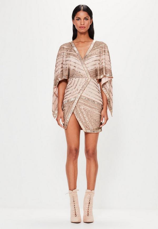 Peace + Love Bronze Embellished Kimono Sleeve Wrap Dress
