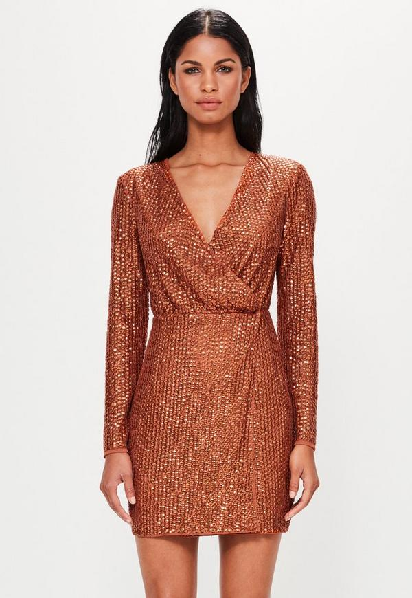Peace + Love Copper Sequin Wrap Mini Dress