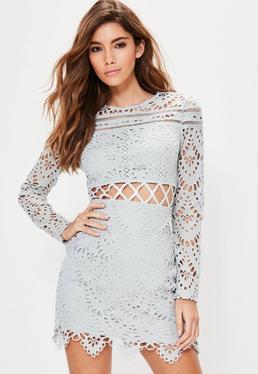 Grey Lace Cross Waist Mini Dress