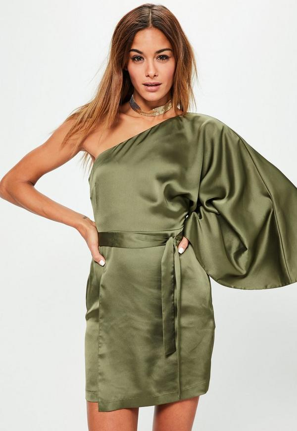 Green Silky One Shoulder Sleeve Shift Dress