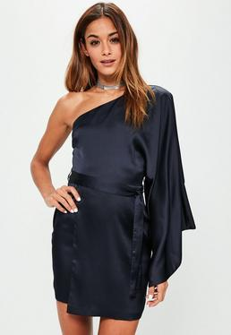 Blue Silky One Shoulder Sleeve Shift Dress