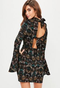 Black Crepe Floral Print Flared Sleeve Shift Dress